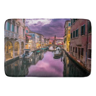 Buildings with Boats in a Canal Bathmat