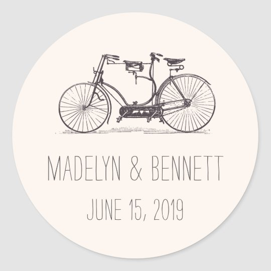 Built for Two | Vintage Tandem Bicycle Wedding Classic Round Sticker