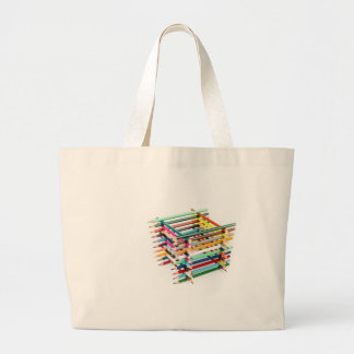Built square construction of colored crayons large tote bag