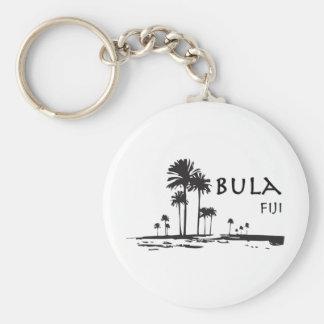 Bula Fiji Palm Tree Graphic Basic Round Button Keychain