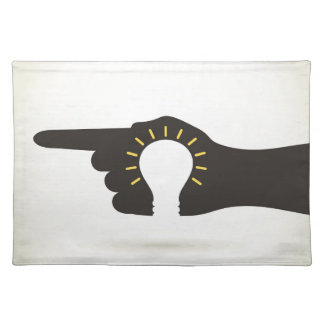 Bulb in a hand placemat