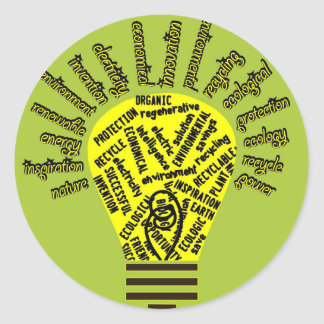 Bulb with ecological terms classic round sticker