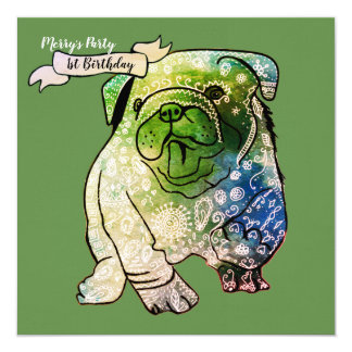 Buldog Puppy Birthday Invitation French Bulldog