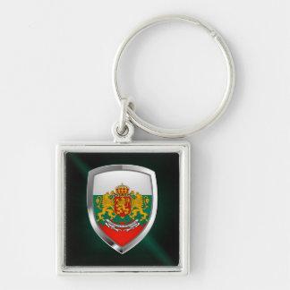Bulgaria Metallic Emblem Silver-Colored Square Keychain