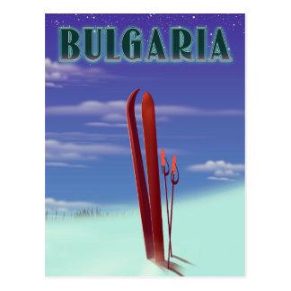 Bulgaria ski travel poster postcard