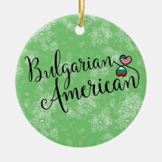 Bulgarian American Hearts Christmas Tree Ornament
