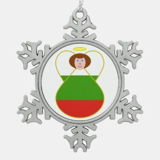 Bulgarian Flag Angel Pewter Snowflake Ornament