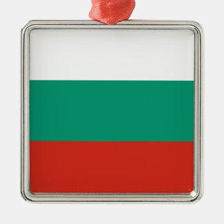 Bulgarian Flag Silver-Colored Square Ornament