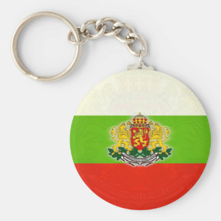 Bulgarian Flag with Coat of Arms Basic Round Button Keychain