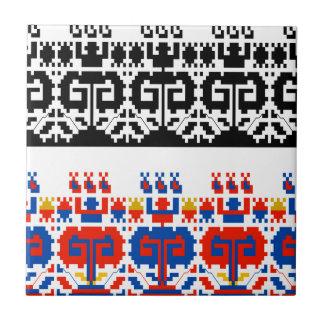 Bulgarian folk art pattern tile