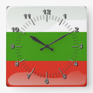 Bulgarian glossy flag square wall clock
