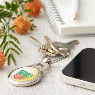 Bulgarian touch fingerprint flag Silver-Colored oval keychain