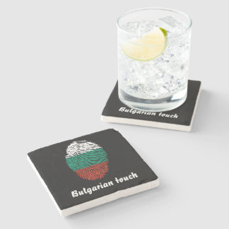 Bulgarian touch fingerprint flag stone coaster