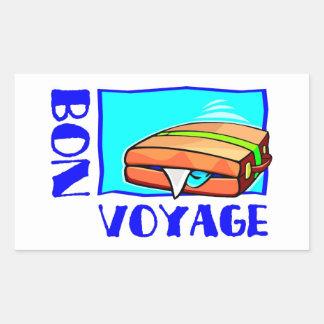 """Bulging suitcase full of luggage: """"Bon Voyage!"""""""