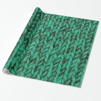 Bulky Green Sweater Knit Texture Wrapping Paper