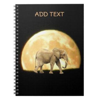Bull African Elephant Against Full Moon Spiral Notebook