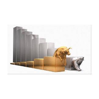 Bull And Bear Economic Trends Canvas Print