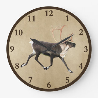 Bull Caribou (Reindeer) On Old Paper Large Clock