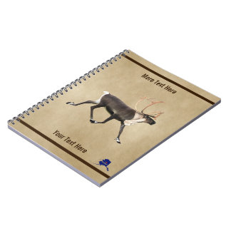 Bull Caribou (Reindeer) On Parchment Spiral Notebook