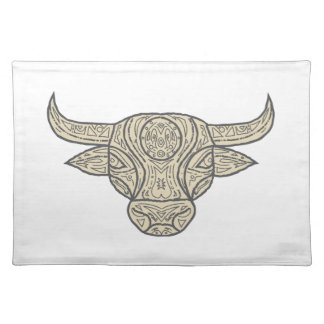 Bull Cow Head Front Mandala Placemat