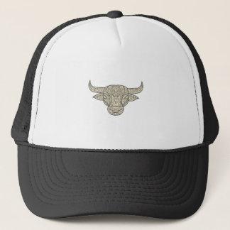 Bull Cow Head Front Mandala Trucker Hat