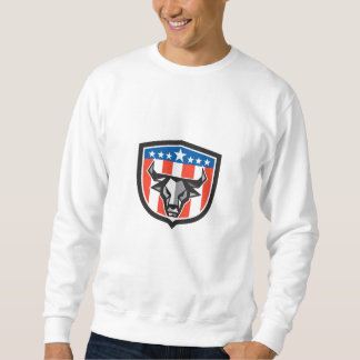 Bull Cow Head USA Flag Crest Low Polygon Sweatshirt