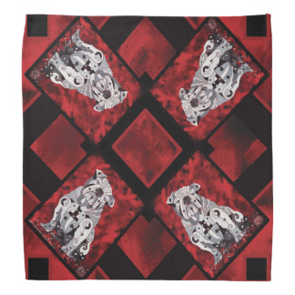 Bull Dog Bandana, Red, White, Black Contemporary Bandana