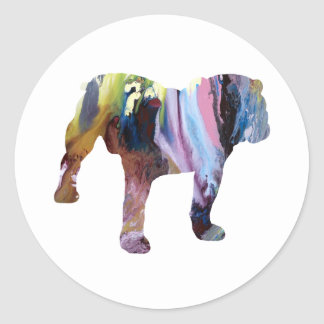 Bull dog classic round sticker