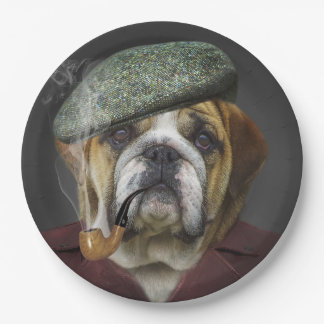 Bull Dog With Cap and Pipe 9 Inch Paper Plate