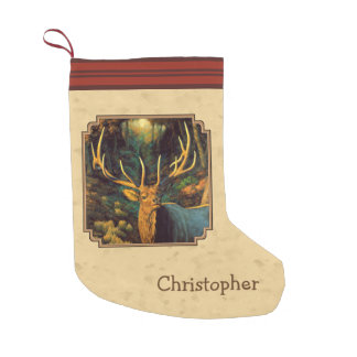 Bull Elk Autumn Yellow Small Christmas Stocking