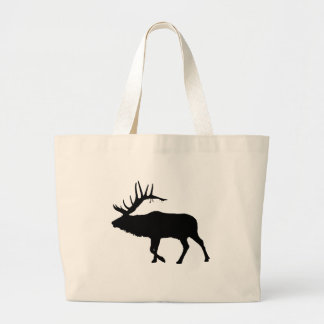 Bull elk black large tote bag