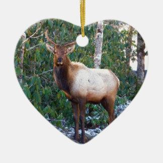 Bull Elk in Rhododendrons Ceramic Ornament