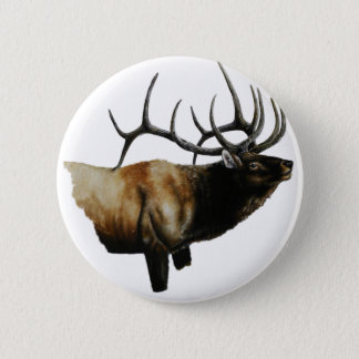 Bull Elk Painting on customizable products 2 Inch Round Button