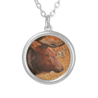 Bull Elk Silver Plated Necklace