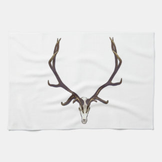 Bull elk skull color kitchen towel