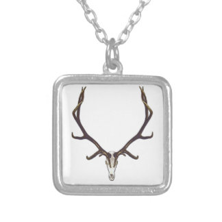 Bull elk skull color silver plated necklace