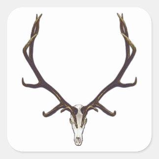 Bull elk skull color square sticker