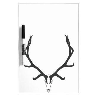 Bull elk skull European mount, bw Dry Erase Board