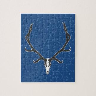 Bull elk skull European mount, bw Jigsaw Puzzle
