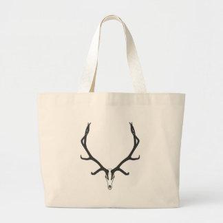 Bull elk skull European mount, bw Large Tote Bag