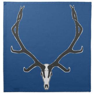 Bull elk skull European mount, bw Napkin