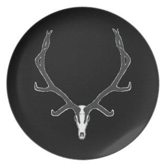 Bull elk skull European mount, bw Plate
