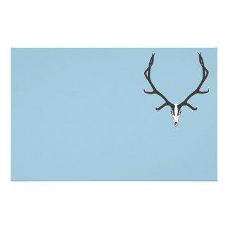 Bull elk skull European mount, bw Stationery