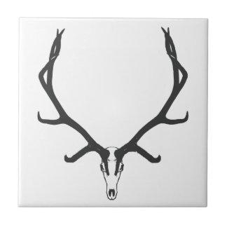 Bull elk skull European mount, bw Tile