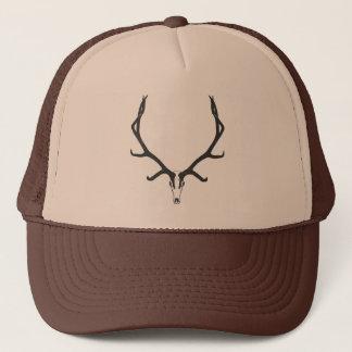 Bull elk skull European mount, bw Trucker Hat