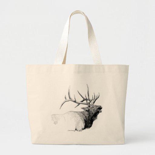 Bull Elk Tote Bags