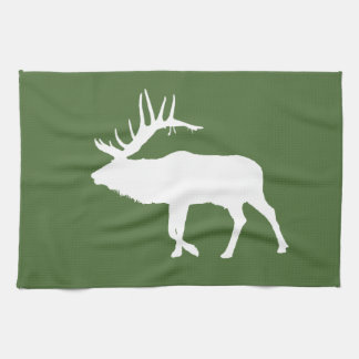 Bull elk white hand towel