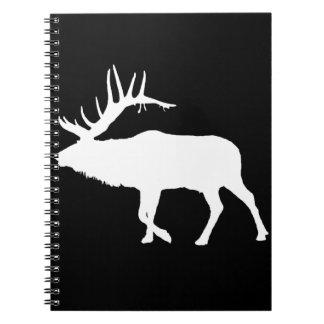 Bull elk white spiral notebook
