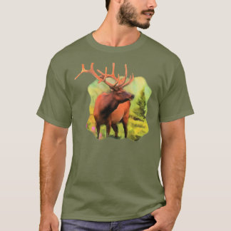 Bull Elk Wildlife Mens Dark Tshirt