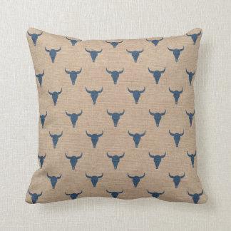 Bull Horns Pattern Pillow Denim Blue